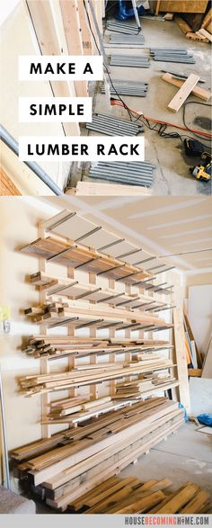 Build a Simple, Affordable, Heavy-Duty DIY Lumber Rack from inexpensive and conduit. Perfect storage solution for lumber. Tips and free instructions. Lumber Storage Rack, Lumber Rack, Wood Rack, Woodworking Shop Layout, Woodworking Crafts, Woodworking Plans, Workbench Plans, Woodworking Machinery, Wood Shop Projects