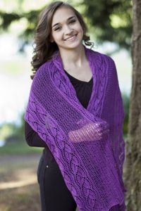 Looking for a pretty one skein lace wrap idea? Check out Forest Hills Dayflower Wrap by Laurie Beardsley, a free pattern,  from Cascade Yarns.