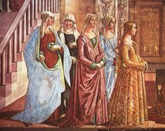 """Series of paintings in the Cappella Tornabuoni by Domenico Ghirlandaio, """"Birth of the Virgin Mary"""", """"Birth of St. John the Baptist"""" and """"The Visitation"""" Italian Renaissance Dress, Medieval Gown, Renaissance Dresses, Renaissance Fashion, Medieval Clothing, Renaissance Art, 15th Century Fashion, Elizabethan Costume, Burgundy Fashion"""