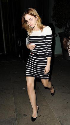 Emma Watson in glossy nylon pantyhose