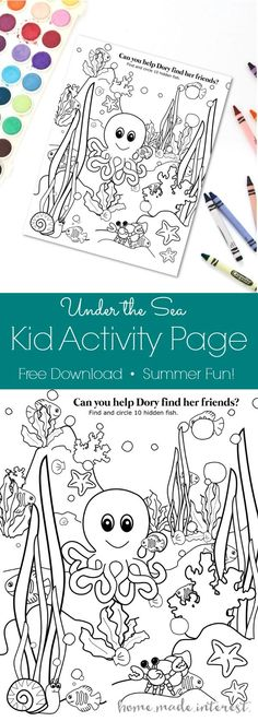 You Can Download This Free Underwater Kid Activity Page And Keep Your Kids Entertained While