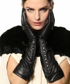 Warmen mujeres de lujo de Long Opera guantes de cuero suave napa con botones