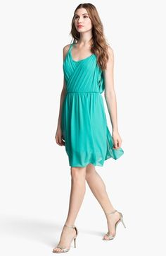 Jessica Simpson Lace & Chiffon Dress in Aqua Green - accordian-pleated chiffon with lace underpinnings crisscrosses into twisted straps that release the draped back bodice for an airy, floating dress - $138.00 - nordstrom.com