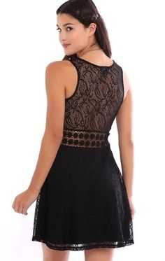 Deb Shops Lace Skater Dress with Illusion Crochet Waist $26.25
