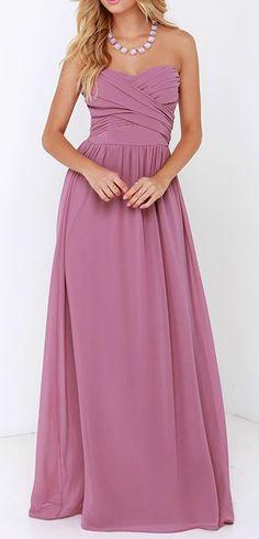 Royal Engagement Strapless Mauve Maxi Dress