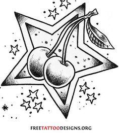 55 Cherry Tattoo Designs + Their Hidden Meaning Diy Tattoo, Kunst Tattoos, Tattoo Drawings, Star Tattoos, Body Art Tattoos, Girly Skull Tattoos, Friendship Symbol Tattoos, Rockabilly Tattoos, Rockabilly Tattoo Designs