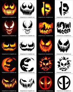 Free Printable Halloween Pumpkin Carving Stencils, Patterns, Designs, Faces & Ideas Free P Disney Pumpkin Stencils, Printable Pumpkin Stencils, Halloween Pumpkin Carving Stencils, Scary Halloween Pumpkins, Pumpkin Painting, Halloween Halloween, Halloween Pumkin Ideas, Carving Pumpkins, Halloween Labels