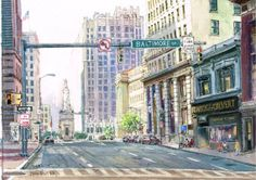 Original Watercolor Street Scene Charles & by GnatekBrothersStudio, $400.00