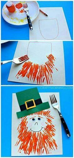 Leprechaun Craft with a Fork Print Beard - Crafty Morning 10 St Patricks Day Crafts for Kids Toddlers Preschool Easy DIY March Crafts, St Patrick's Day Crafts, Daycare Crafts, Classroom Crafts, Toddler Crafts, Holiday Crafts, Diy Crafts, Classroom Fun, Crafts With Kids