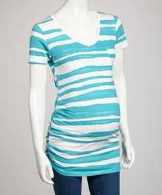 Take a look at this Turquoise Stripe Maternity Tee - Women by Mom & Co. on #zulily today!
