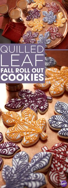 Quilled Leaf Fall Roll Out Cookies Recipe - Decorated with elegant curls and lines, these Quilled Leaf Fall Roll Out Cookies make for a stunning dessert. Use them as edible decorations for Thanksgiving or cookie favors for a fall wedding. Piped in various shades of purple, red and yellow, these beautiful leaf cookies use Wilton Color Flow icing to achieve a smooth surface for piping.