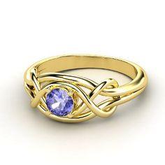 Infinity Knot Ring,   Round Tanzanite 14K  Yellow Gold Ring