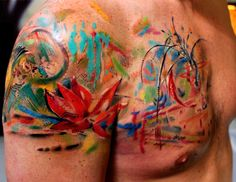 Bartt is a talented artist and tattooist, he tattoos in a unique and creative style at Scratchline Tattoo studio in Kentish Town, London. Please get in contact with the studio if you want to book a consultation with Bartt. Watercolour Tattoo, Abstract Tattoo, Colour Tattoo, Full sleeve, Backpiece.