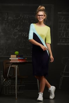 Professor Jones Dress- fun, color block, bold, preppy, summer, spring, back to school, nerd