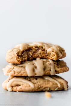 With crisp edges and mega chewy centers, these maple brown sugar cookies are a new fall favorite dessert. Top with creamy maple icing for the ultimate flavorful cookie. Recipe on sallysbakingaddiction.com