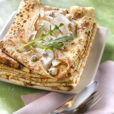 Crêpes aux poires, gorgonzola et roquette #recette #fruits #fromage #crêpe #facile