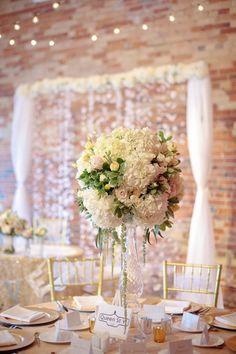 Featured Photographer: Tied Photography; Wedding reception centerpiece idea.
