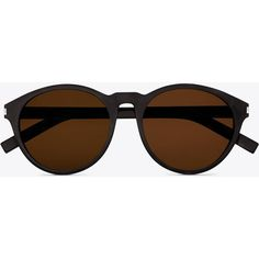 Saint Laurent Classic 7 Sunglasses In Black Acetate With Brown Lenses ($310) ❤ liked on Polyvore featuring accessories, eyewear, sunglasses, glasses, óculos, black and brown, brown glasses, round lens glasses, black round sunglasses and rounded sunglasses