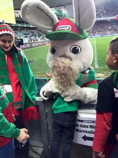 This image pretty sums up how much I love the South Sydney Rabbitohs, specifically their long-eared leader, #ReggieRabbit!  He is more than a mascot, he is a part of our red and green family!  This image makes my heart thump like, well, like a rabbit!  Bunnymund would be so proud of you!  #loveyareggie #proudtobeabunny ❤️
