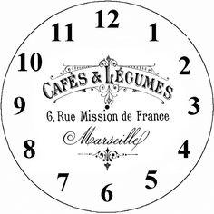 reloj Painting Templates, Stencil Painting, Printable Art, Free Printables, Clocks Inspiration, Face Template, France 3, Decoupage Paper, Vintage Prints