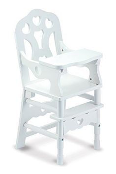 3b93d6f0d174f Melissa   Doug 9382 White Wooden 20-inches Tall Doll High Chair for sale  online