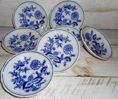 7 Antique Meissen England China Blue Onion Dessert Bowls ,Beautiful Blue Onion Meissen China