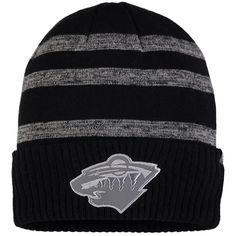 45b3e029d24a5 Minnesota Wild Fanatics Branded Reflective Sneaker Cuffed Knit Hat with Pom  – Black Gray
