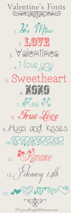 A Typical English Home: Best Free Valentine's Day Fonts