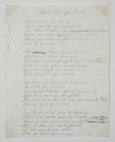 """Handwritten lyrics by Johnny Cash to the song """"I'm So Glad You Came."""""""