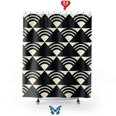 Black and white geometric shower curtain, art shower curtain, shower, abstract curtain, bathroom curtain, bathtub curtain, best seller<br>