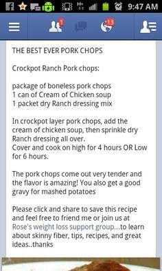 Croc Pot Ranch Pork chops
