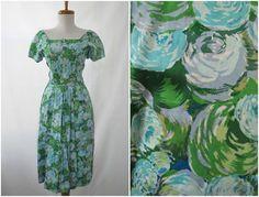 1950s Green & Blue Floral Print Dress #vintage #dress #1950s #1960s #flowerprint #flowers #pattern #etsy 45.00