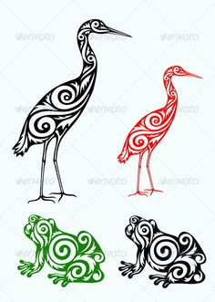 White Egret and Frog - Flourishes / Swirls Decorative