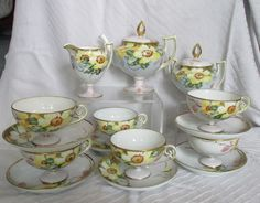 Vintage Nippon Porcelain Hand Painted Raised Gold Floral Tea Set Cups&Saucers for Like the Vintage Nippon Porcelain Hand Painted Raised Gold Floral Tea Set Cups&Saucers? Antique Tea Sets, Coffee Set, Tea Cup Saucer, Tea Pots, Cups, Porcelain, Hand Painted, Teacup, Tableware