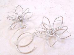 silver wire wrapped flower earrings