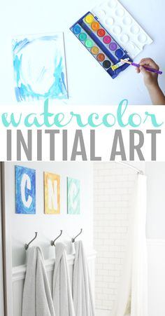 Have your kids help make this beautiful initial artwork for your walls using watercolors!