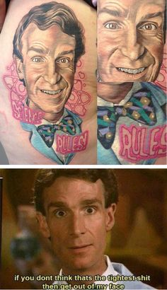 Bill Nye the science thigh // by Tony Sklepic from Atomic Zombie Tattoo