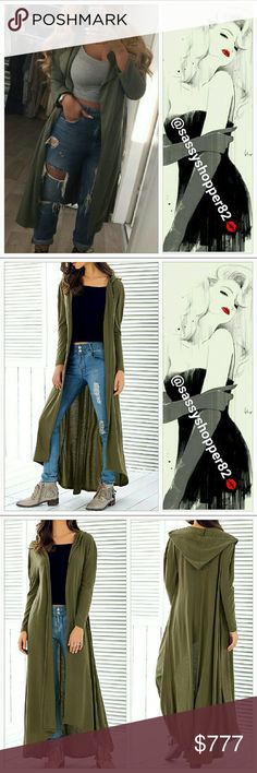 Coming soon! 'OLIVIA' Olive green Duster Limited quantitie!  New without tags  Olive green hooded duster, one of the season hottest trends and colors. Easy to pair over any outfit.  Light weight Tops