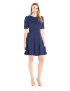 Lark & Ro Women's Elbow-Sleeve Textured Full Flare Dress, Navy, Small