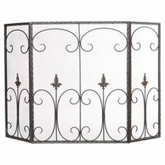 "Metal fireplace screen with scrolled wire accents. Product: Fireplace screenConstruction Material: MetalColor: BlackDimensions: 31.5"" H x 50"" W x 1"" D"