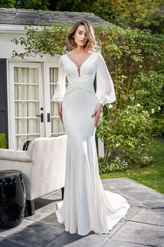 Simple, boho, and glam crepe fit and flare wedding dress, with long sleeves, style by Jasmine Bridal Long Sleeve Wedding Dress Boho, Crepe Wedding Dress, Fit And Flare Wedding Dress, Bridal Wedding Dresses, Crepe Dress, Bridal Style, Jasmine Bridal, Gowns Of Elegance, Gowns With Sleeves