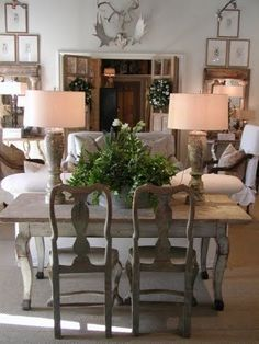Love the table with chairs as a sofa table! lisa luby ryan via decor de provence Table Sofa, Table Behind Couch, Dining Table, Console Table, Table Legs, Dining Chairs, My Living Room, Home And Living, Living Spaces