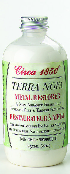 Circa 1850 Terra Nova Metal Restorer quickly and effectively removes dirt and tarnish from metal. For use on silver, brass, copper, stainless steel, pewter and chrome. Will not scratch surface. It polishes metals to a smooth, lustrous shine. Terra Nova products are non-toxic and environmentally friendly.
