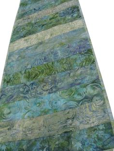 Batik Table Runner Quilted in Greens