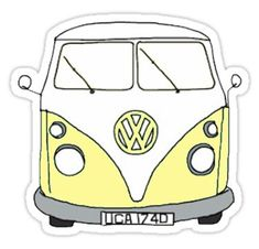 """""""yellow hippie van"""" Stickers by Stickers Cool, Red Bubble Stickers, Tumblr Stickers, Phone Stickers, Printable Stickers, Macbook Stickers, Van Hippie, Homemade Stickers, Vsco"""