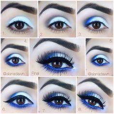 Eye Makeup Tips.Smokey Eye Makeup Tips - For a Catchy and Impressive Look Eye Makeup Blue, Blue Makeup Looks, Love Makeup, Eyeshadow Makeup, Makeup Tips, Makeup Ideas, Makeup Tutorials, Beauty Makeup, Makeup Contouring