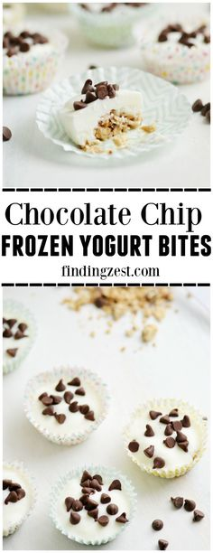 Only three ingredients are needed to make these Chocolate Chip Frozen Yogurt Bites! Kids will love this fun and easy snack.