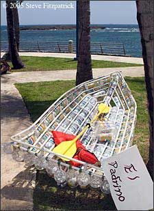 A Puerto Rican kayak made from 2-liter bottles.