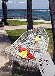 A Puerto Rican kayak made from 2-liter bottles.