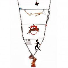 Aerialist, tiger, magician and lion Long necklace - Les Néréides - N2
